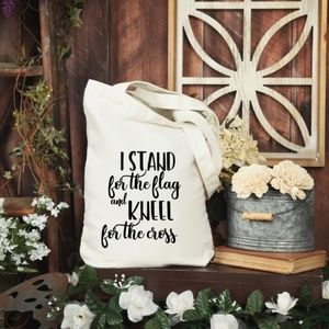 Handbags - I Stand For The Flag Personalized Tote Bag